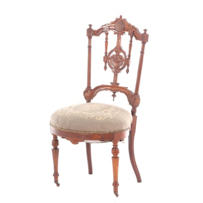 Aesthetic Movement Mahogany Upholstered Side Chair, Late 19th Century