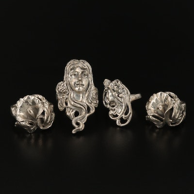 Assortment of Art Nouveau Style Sterling Rings