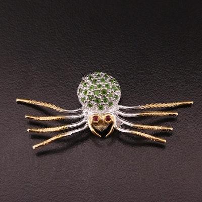 Sterling Silver Garnet and Chrome Diopside Spider Brooch