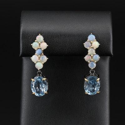 Sterling Silver Opal and Topaz Drop Earrings
