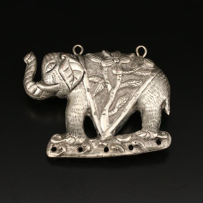 Chinese Repousse and Chased Elephant Pendant