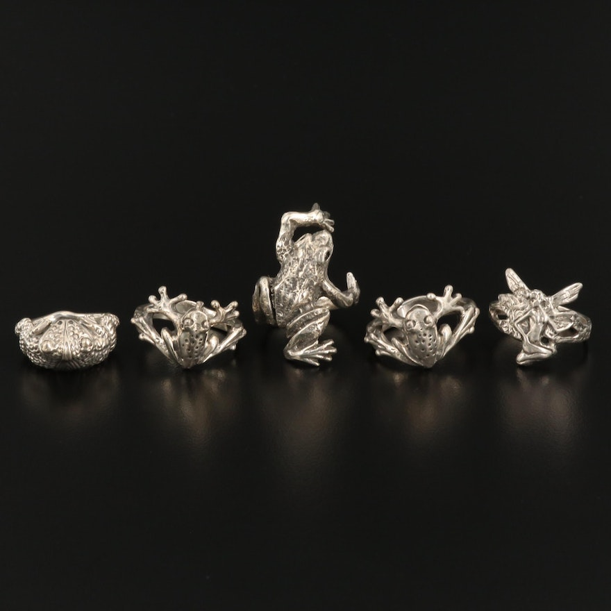 Sterling Silver Ring Selection Featuring Frog and Fairy Designs