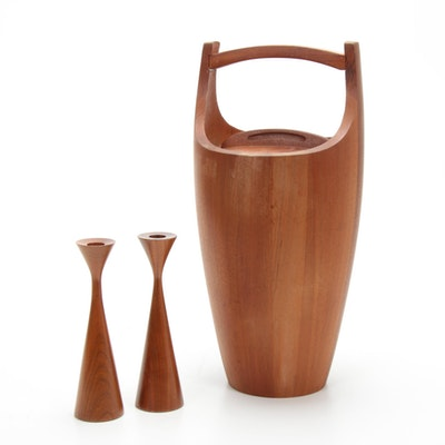 Dansk Designs Ice Bucket and Candlesticks, Mid-20th Century