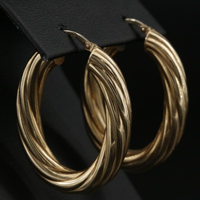 14K Gold Twisted Cable Hoop Earrings