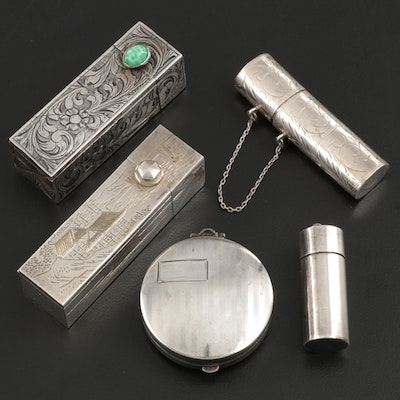 Sterling Silver and 800 Silver Lipstick Cases and Pill Boxes