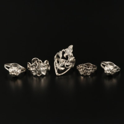 Sterling Rings Featuring Comedy/Tragedy, Cats and Foliage