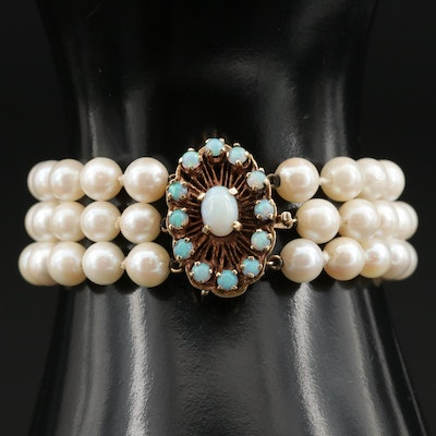 14K Gold Cultured Pearl and Opal Multi Strand Bracelet