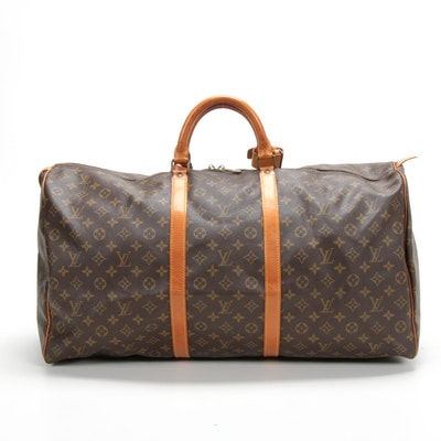 Louis Vuitton Keepall 55 Duffle Bag in Monogram Canvas and Vachetta Leather