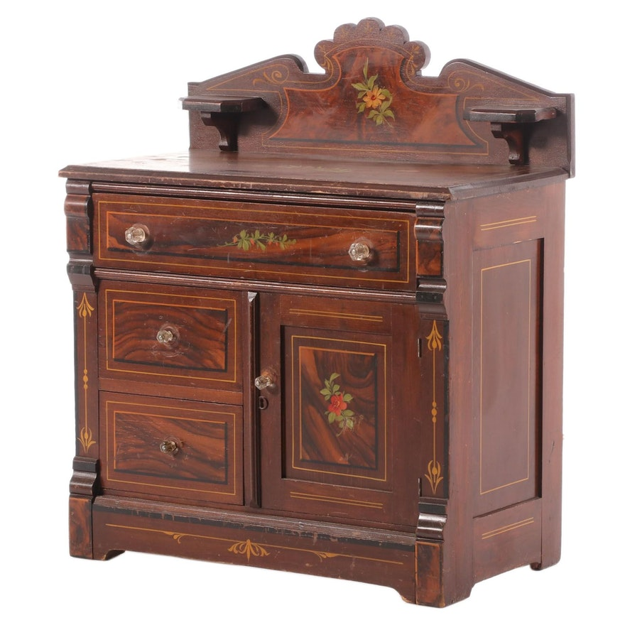 Late Victorian Stenciled Wooden Washstand Cabinet, Late 19th/Early 20th Century