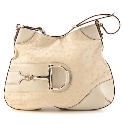 Gucci Hasler Horsebit Shoulder Bag in Ostrich Skin with Leather Trim