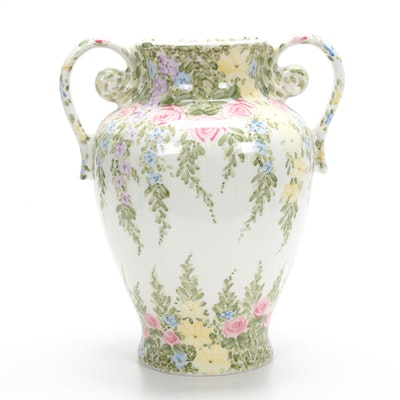 "Don Swanson ""English Garden"" Hand-Painted Ceramic Amphora Vase"