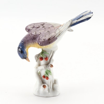 European Hand-Painted Porcelain Bird Figurine, 19th Century