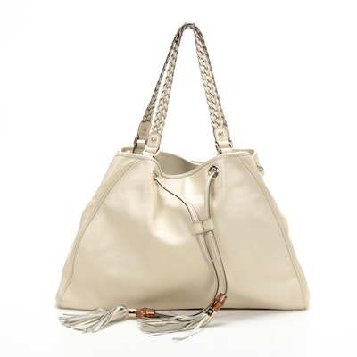 Gucci Bamboo Peggy Tote in Ivory Leather with Drawstring Tassels