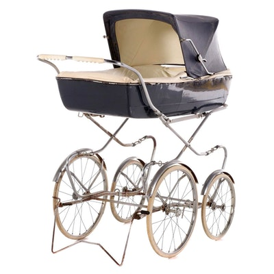 Plastic Baby Carriage with Chrome Fenders, Mid-20th Century