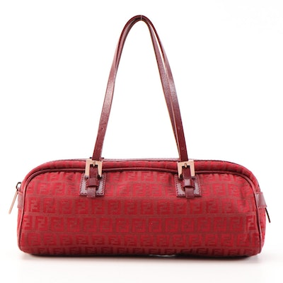 Fendi Baguette Shoulder Bag in Red Zucca Canvas with Leather Trim