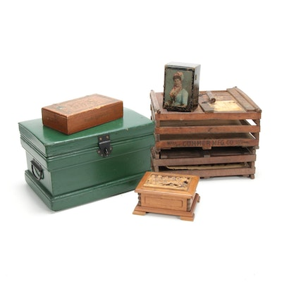 Antique Shipping Crates, Carved Chest and Wooden Boxes