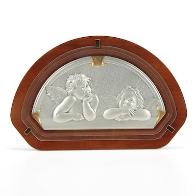 Asa Linea Italian Sterling Silver Plaque of Raphael's Angels
