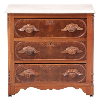 Victorian Walnut, Figured Walnut, and White Marble Three-Drawer Washstand
