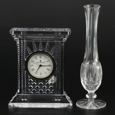 "Waterford Crystal ""Atrium"" Mantel Clock with Vase, Late 20th/Early 21st Century"