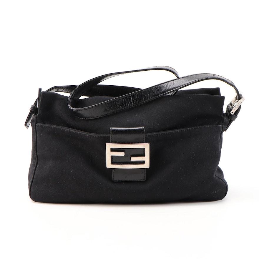 Fendi Shoulder Bag in Black Fabric with Leather Trim