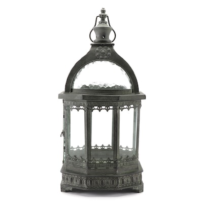 Filigree Metalwork Lantern with Pebble Glass Inserts