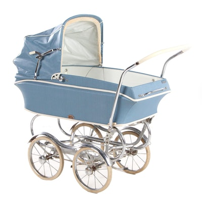"""REX Vinyl and Chrome""""Stroll-O-Chair"""" Baby Carriage, Mid-20th Century"""