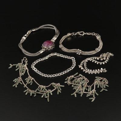 Sterling Bracelets Including Corundum and Nephrite