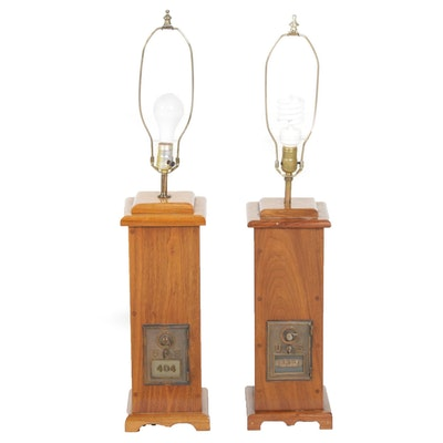 Pair of U.S. Post Office Mailbox Handcrafted Wood Column Lamps