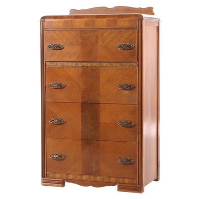 Art Deco Walnut Chest of Drawers, Early 20th Century