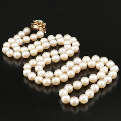 Opera Length Pearl and Chalcedony Necklace with 14K Clasp