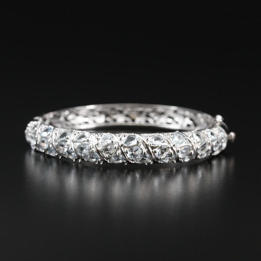 Sterling Silver Aquamarine Hinged Bangle Bracelet