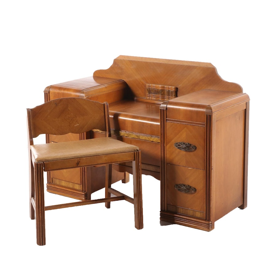 Art Deco Walnut Vanity Table with Chair, Early 20th Century