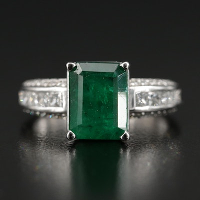 14K Gold 3.51 CT Emerald and 1.07 CTW Diamond Ring with GIA Report