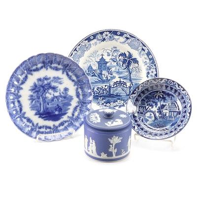 Wedgwood Jasperware Jar and English Blue and White Transferware