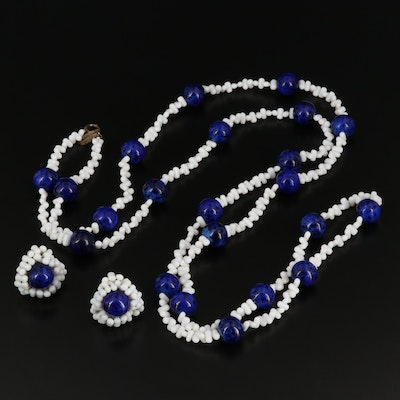 Vintage Miriam Haskell Glass Beaded Necklace and Earrings Set