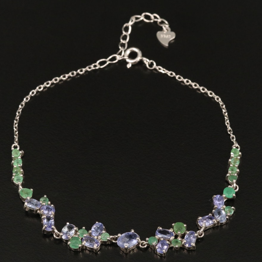 Sterling Silver Tanzanite and Emerald Bracelet