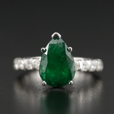 """The Leo"" 14K Gold 3.59 CT Emerald and Diamond Ring with GIA Report"