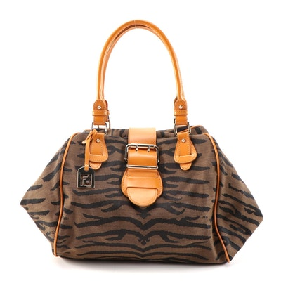 Fendi Satchel in Brown Tiger Striped Jacquard Canvas with Orange Leather Trim