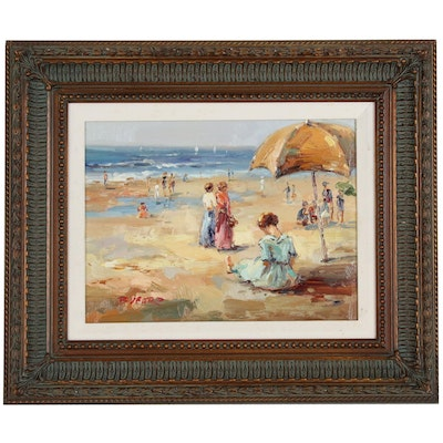 Claude-Marie Buford Oil Painting of Beach Scene