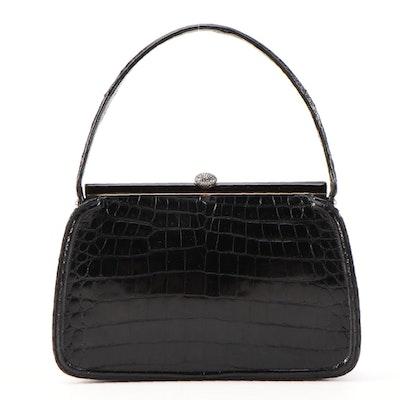Lucille de Paris Black Alligator Skin Handbag with Marcasite Clasp, Vintage