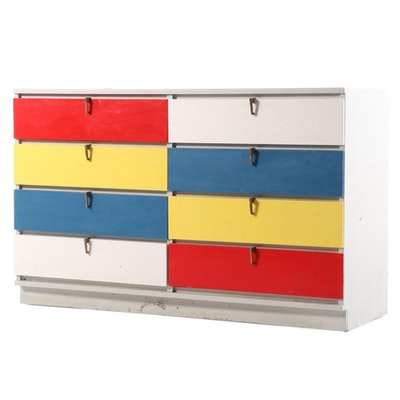 Multicolor Painted Wood Chest of Drawers