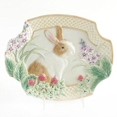 "Fitz & Floyd ""Botanical Bunny"" Ceramic Canape Plate"