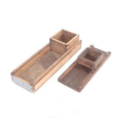 Primitive Wooden Kitchen Mandolin Slicers