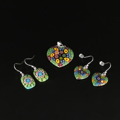 Sterling Silver Millefiori Glass Heart and Drop Earrings and Pendant