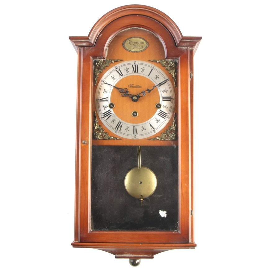 West German Wooden Pendulum Wall Clock, Mid to Late 20th Century