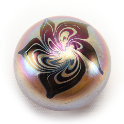 Nick Delmatto Irridescent Art Glass Paperweight, 1977