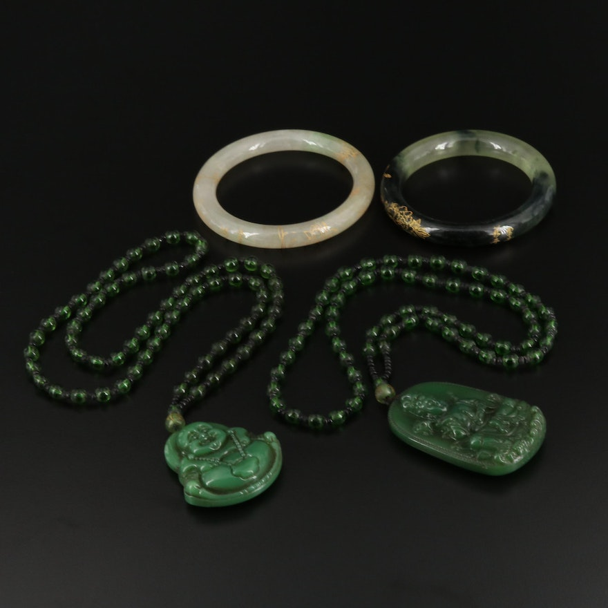 Budai and Guan Yin Necklaces and Hololith Bangles Including Jadeite and Glass