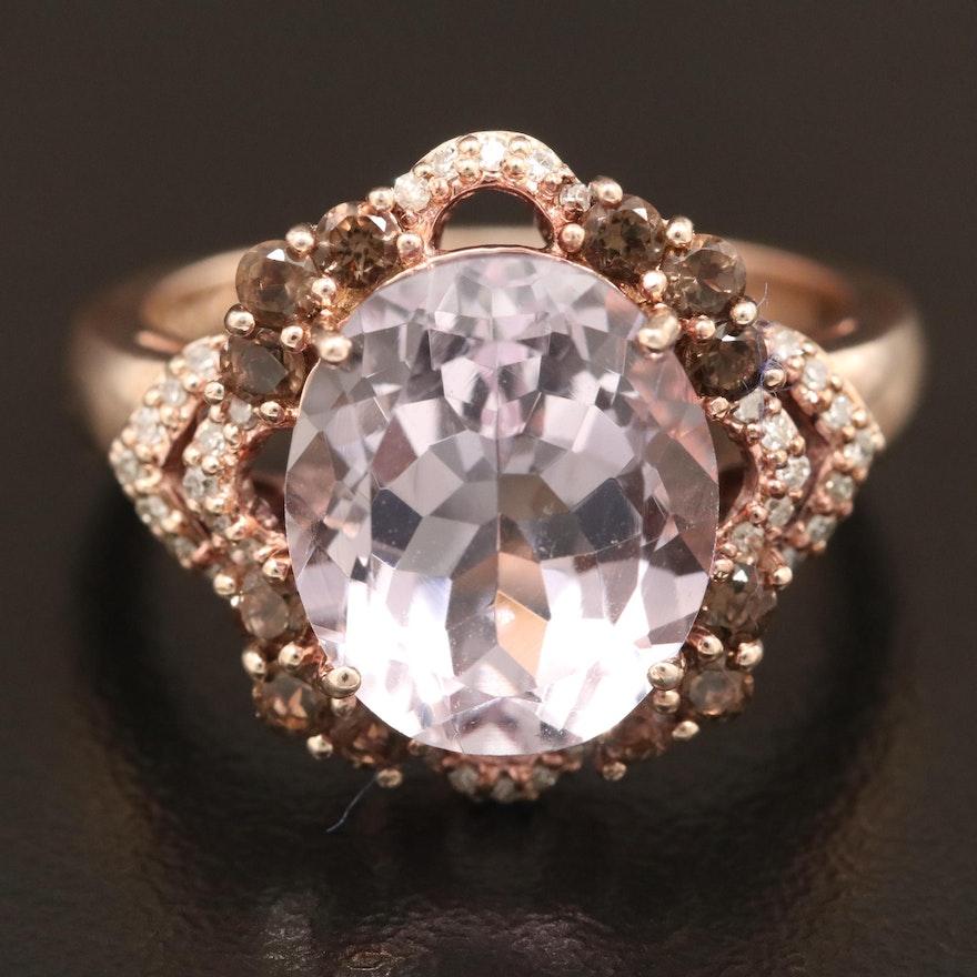 Sterling Silver Amethyst, Smoky Quartz and Diamond Ring
