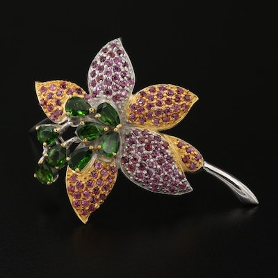 Sterling Diopside and Garnet Floral Brooch