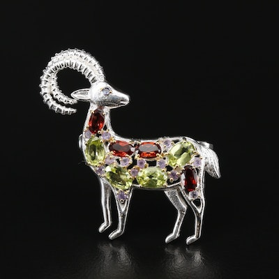 Sterling Silver Garnet, Peridot and Amethyst Ram Brooch